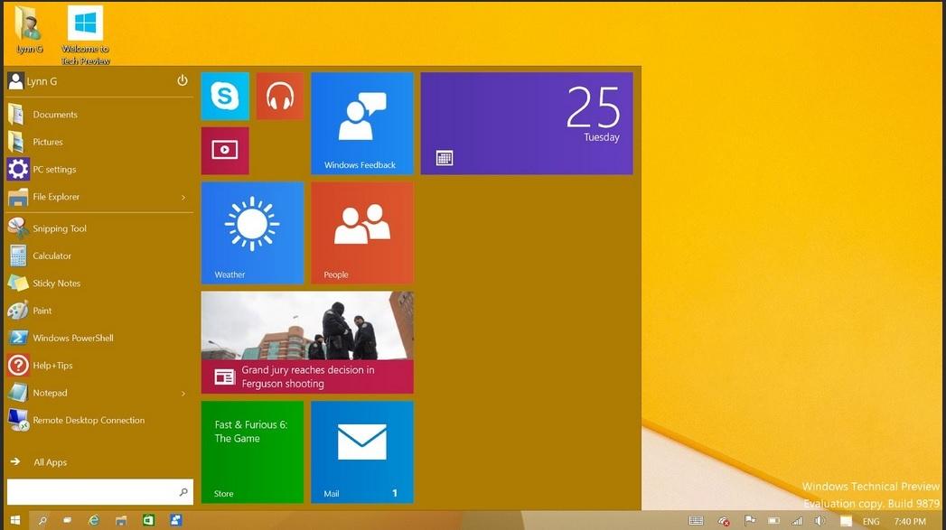 Windows 10, desktop with new start menu open